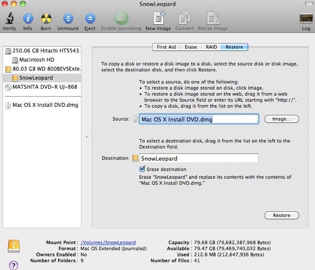 Установка Mac OS X Snow Leopard с флешки