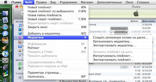 Организация медиафайлов в iTunes 9