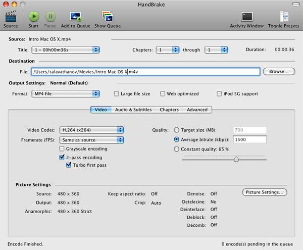 Видео конвертер HandBrake для Mac OS X