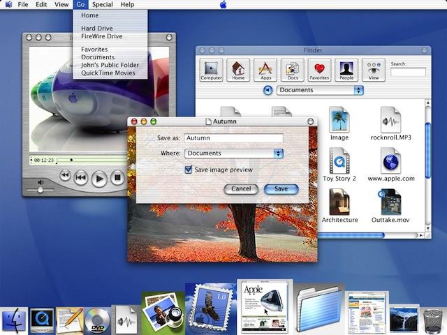 Интерфейс OS X 10.0 назывался Aqua и имел что-то общее с каплями воды