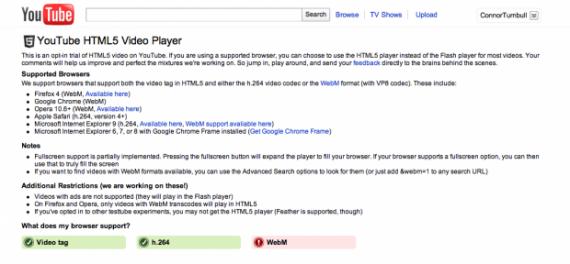 На данный момент YouTube предлагает формат HTML5