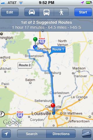 Альтернативные маршруты в Maps.app