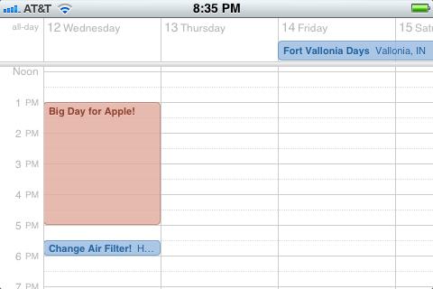 Ландшафтный режим в приложении Calendar.app