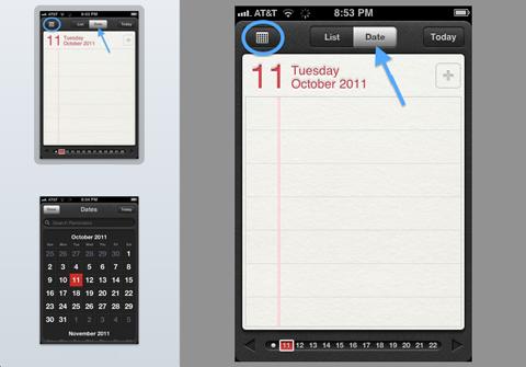 Отображения месяца в приложении Reminders на iPhone