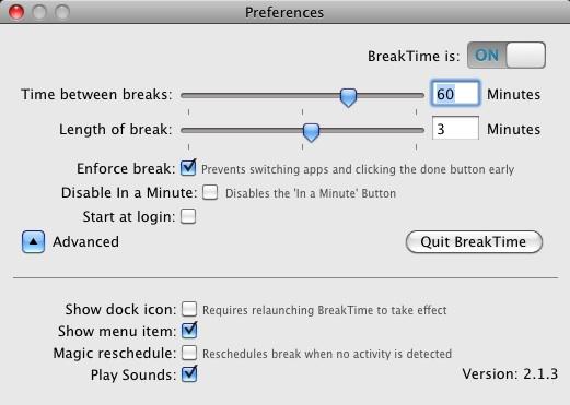 BreakTime for Mac — делаем перерывы в работе