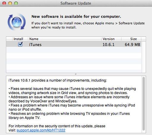 Вышло обновление iTunes 10.6.1