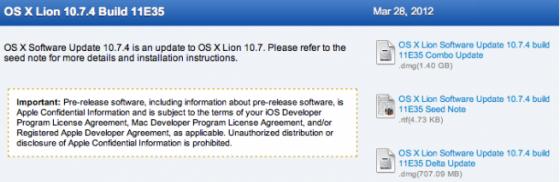 Apple выпустила OS X 10.7.4 (билд 11E35) для разработчиков