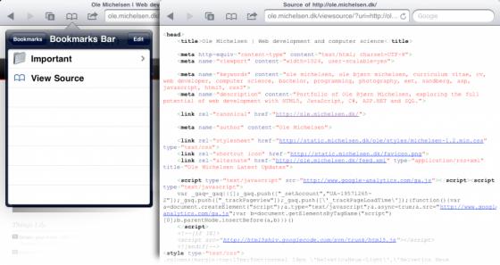 Просмотр исходного кода сайта в Safari на iPhone или iPad