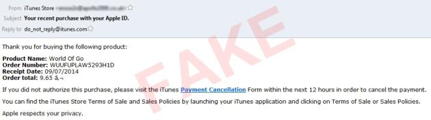 Поддельное письмо iTunes Store