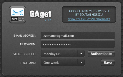 GAget — статистика Google Analytics у вас в Dashboard