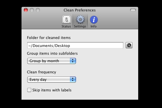 Настройки приложения Clean